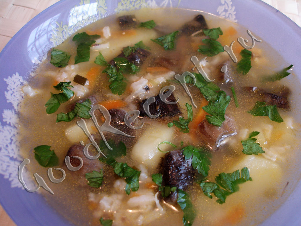 грибной суп на мясном бульоне рецепт