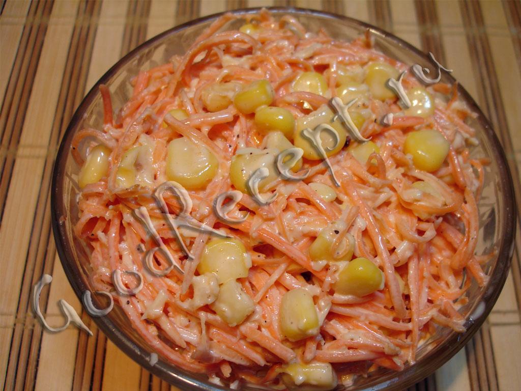 салат из корейской моркови и кукурузы и сухариков проезда
